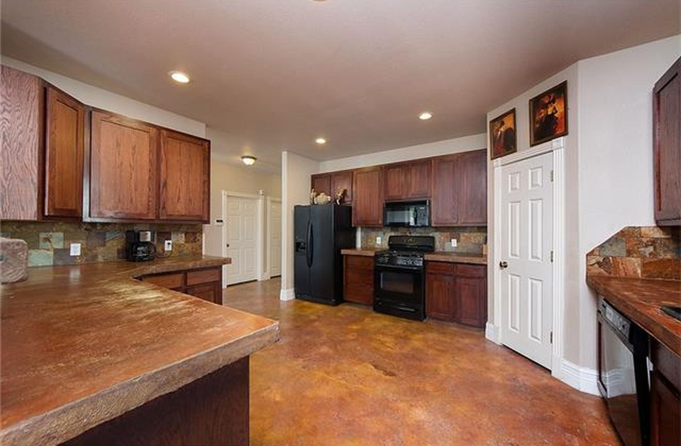 The Westlake House is equipped with a large kitchen